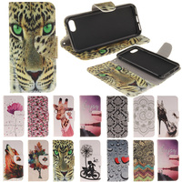 Flower Totems Giraffe Wolf Leopard Print Wallet Leather Flip Phone Case Cover For Nokia N630 N640