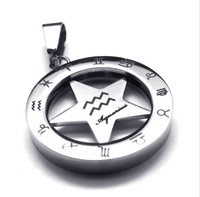 Vintage 316L Stainless Steel 25MM Round Circle Star 12 Zodiac Aquarius Pendant Necklace Jewelry With Bead