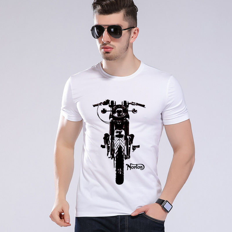 새로운 2018 패션 빈티지 기관차 티셔츠 티 짧은 소매 재미 있은 O - 목 오토바이 티셔츠 소년 탑스 모에 Cerf H8 - 50 #