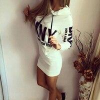2018 New Fashion Women Autumn Winter Bodycon Sporting Hooded Dress Letter Long Sleeve T Shirt Dress