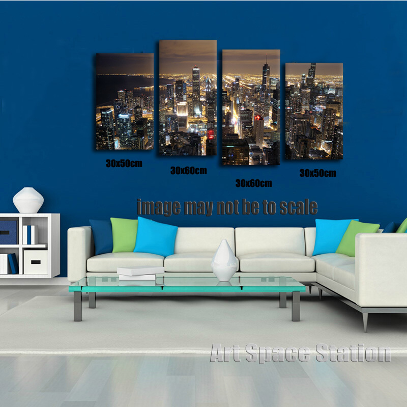 Superbe Chicago Skyline GIANT Wall Art Home Decor HD CANVAS PRINT,Chicago City  Night Panorama From John Hancock Poster Picture NO FRAMED In Painting U0026  Calligraphy ...