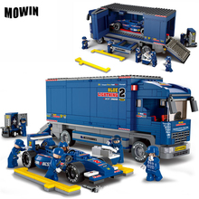 MOWIN 641Pcs/lot Transporter F1 Car Model Children Building Blocks Toys Nice DIY Kids Birthday Gifts Safety ABS Boys Car Toys