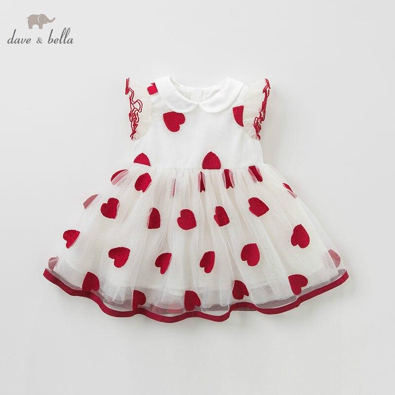 DB10134 DAVE BELLA summer baby girl princess clothes children birthday party wedding dress kids embroidered boutique