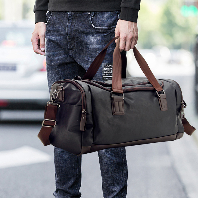 2020 New Casual PU Leather Travel Duffel Bag  Large Capacity Travel Bags Men Messenger Handbags