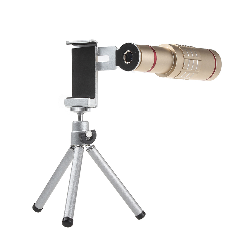 Universal 18x zoom lens Magnification Optical Camera Telephoto Lens Telescope With mini Tripod For Iphone Smartphone Gold 8