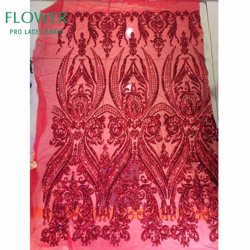 Nigerian Seuqins Mesh Lace Fabric Red Sequined Embroidered Lace Guipure African Swiss Voile Net Lace Indian