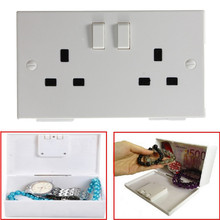 Brand New Hign Quality Hiding Wall Socket Electric Plug Secret Security Safe Valuable Storage Box EU Style Plastic White