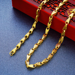 Image 3 - Real Necklaces for Men Melon Seed Design 100% 24K Gold Hollow Curb Link Chains Necklace 2018 Fine Jewelry Collier Free Shipping