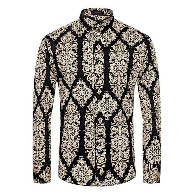 Camisas de hombre de la impresión Floral informal clásico más el tamaño M-3XL de moda del algodón puro desgaste diario Camisa alta calidad Chemise Homme Camisa