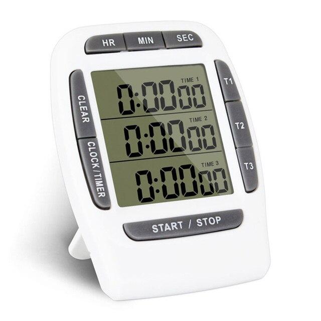 Nova Multifuncional Cozinha Temporizador 3 Canais de Exibição de Tela Grande Digital Alarme Alto Função de Temporizador de Contagem Regressiva Eletrônico