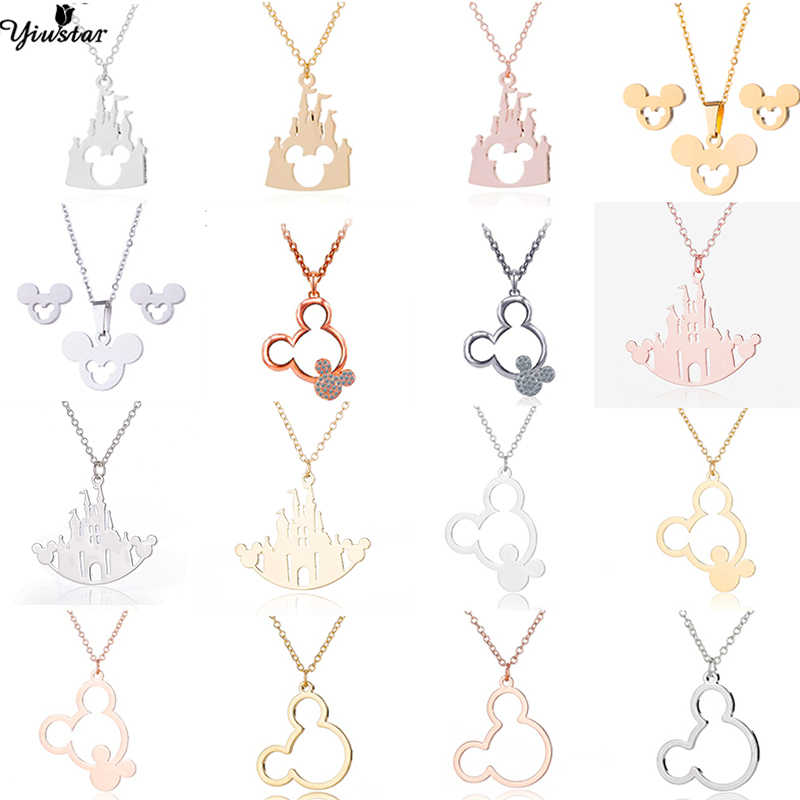 Yiustar Romantic Castle Necklace Mickey Necklaces Women and Girls Cartoon Jewelry Mouse Stainless Steel Pendant Charm Collier