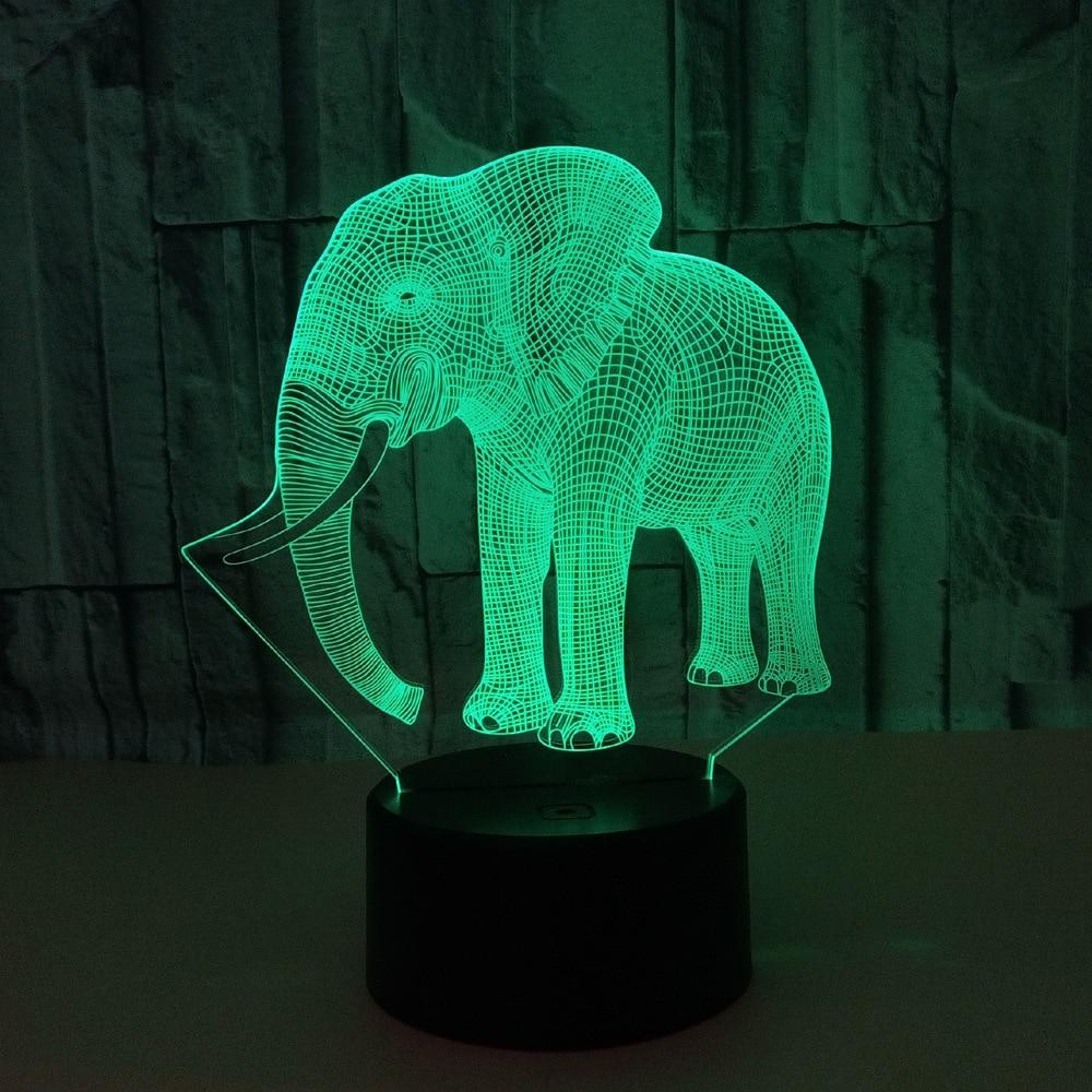 Creative 3D light Elephant Night Light 7 Color Change Acrylic LED Table Lamp USB light children Bedroom as Gift for Decoration