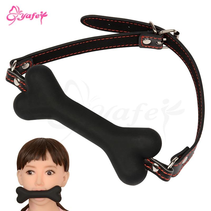 SM Bondage toys Adult game Mouth Plug Silicone Dog Bone Gag PU leather BDSM Restraints Straps Ball Gag Erotic Sex toys for Women