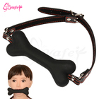 SM Bondage toys Adult game Mouth Plug Silicone Dog Bone Gag PU leather BDSM Restraints Straps Ball Gag Erotic Sex toys for Women