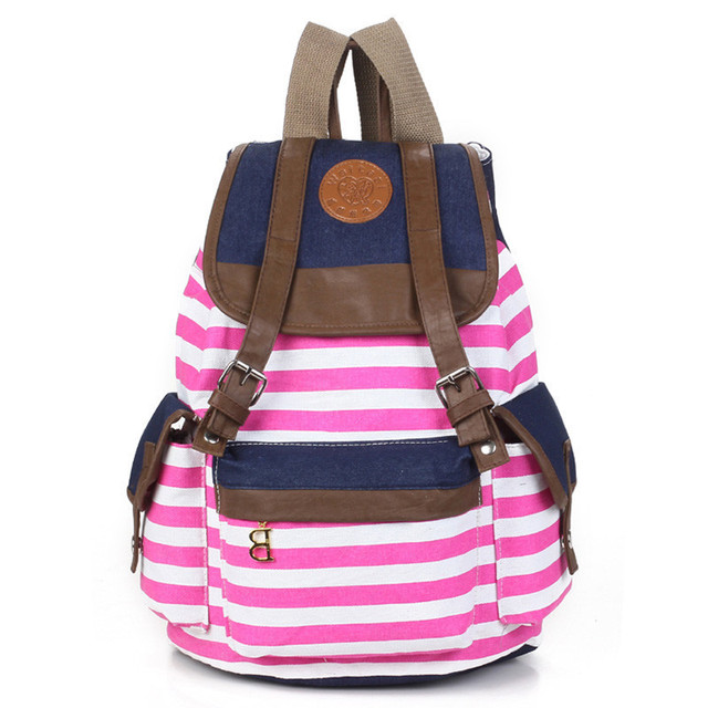 Women backpack New fashion stripe casual canvas backpack school bags preppy style female school backpacks good quality 4