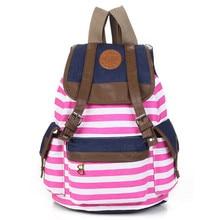 POPOKi Canvas Backpack Fashion Stripe Preppy Style 5 colors