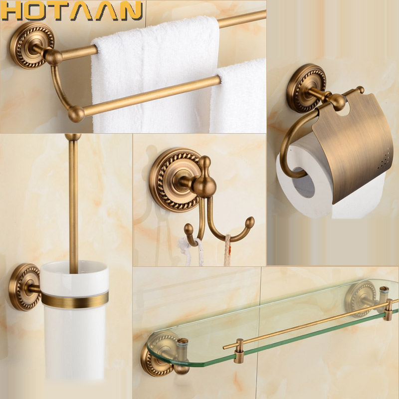 High Quality 2017 Free Shipping,solid Brass Bathroom Accessories Set,Robe Hook,Paper  Holder,