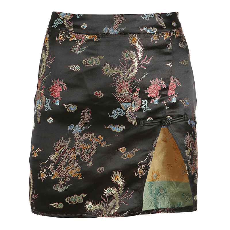 Retro Chinese style mini skirt fork opening slimming hemisphere skirt fashion hip wrapped skirt streetwear elegant trend black in Skirts from Women 39 s Clothing