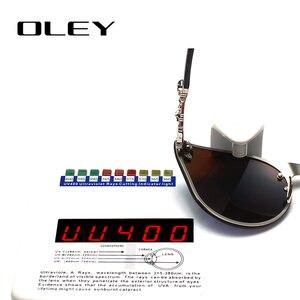 Image 4 - OLEY luksusowa marka moda kobiety gotyckie lustro okulary czaszka rama metalowa świątynia óculos de sol z akcesoriami Y7001