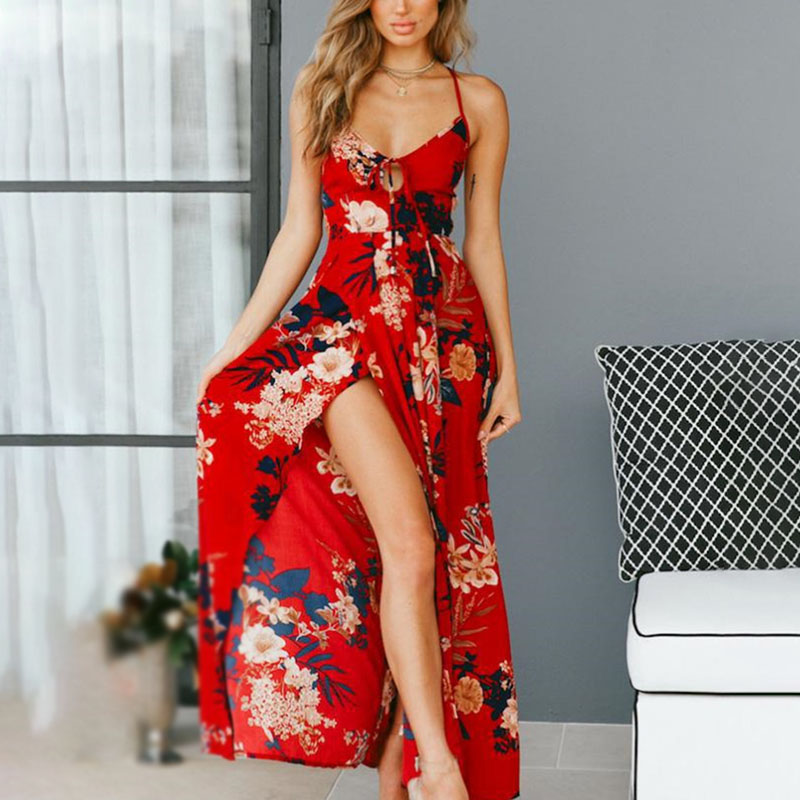 Summer Boho <font><b>Dress</b></font> Red black Floral Print <font><b>Sexy</b></font> <font><b>Lace</b></font> Up V Neck <font><b>Women</b></font> Maxi <font><b>Dresses</b></font> Summer Split <font><b>Backless</b></font> Beach Long Vestidos C0376 image