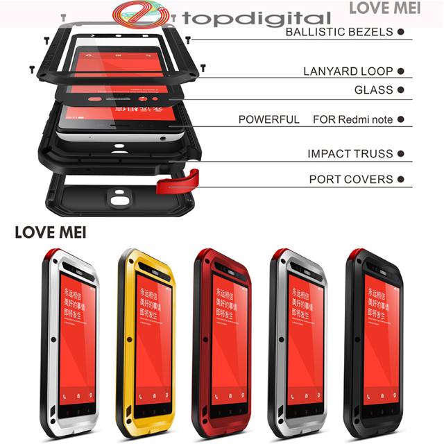 new style b87cb 14f34 US $31.11 |LOVE MEI Shockproof Case for xiaomi Redmi Note 1 Waterproof  Heavy Duty Armor Case Cover for xiaomi Hongmi Note 1 Tempered Glass-in  Fitted ...