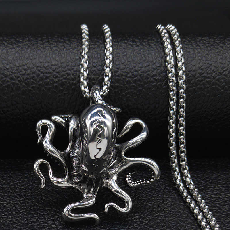 2020 Punk Gurita Stainless Steel Besar Kalung Pria Warna Perak Kalung Kalung Perhiasan Acero Tidak Beracun Joyeria Mujer N19138