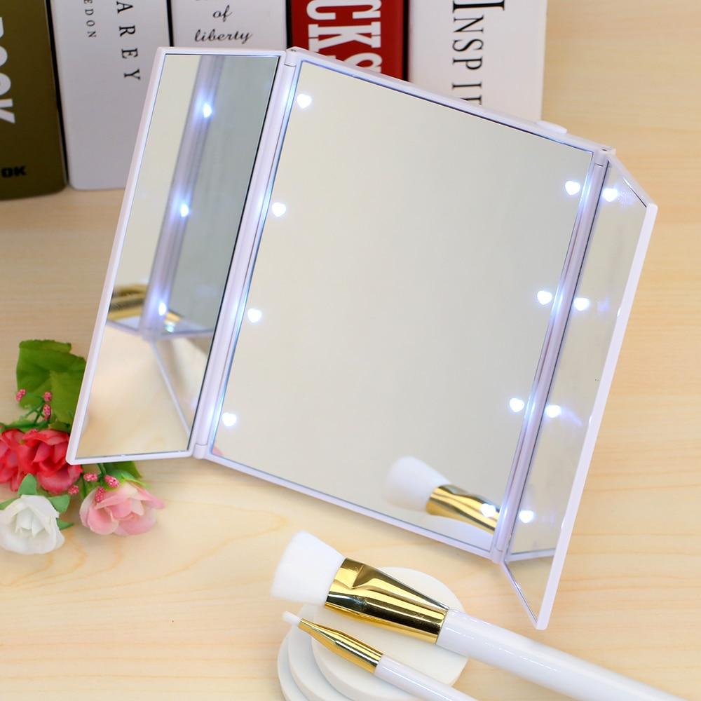 luces led espejo de maquillaje mesa plegable cosmtico belleza espejo de vanidad encimera ajustable