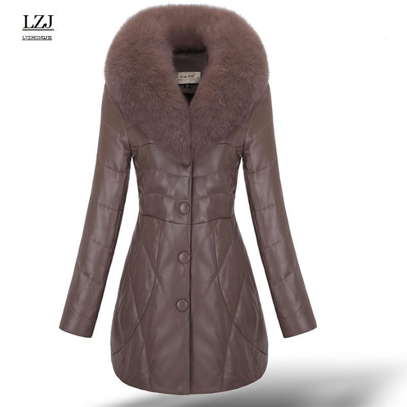 LZJ 2017 new women winter warm fox fur coat collar sheepskin leather down jacket luxury jacket plus size 3XL special clearance