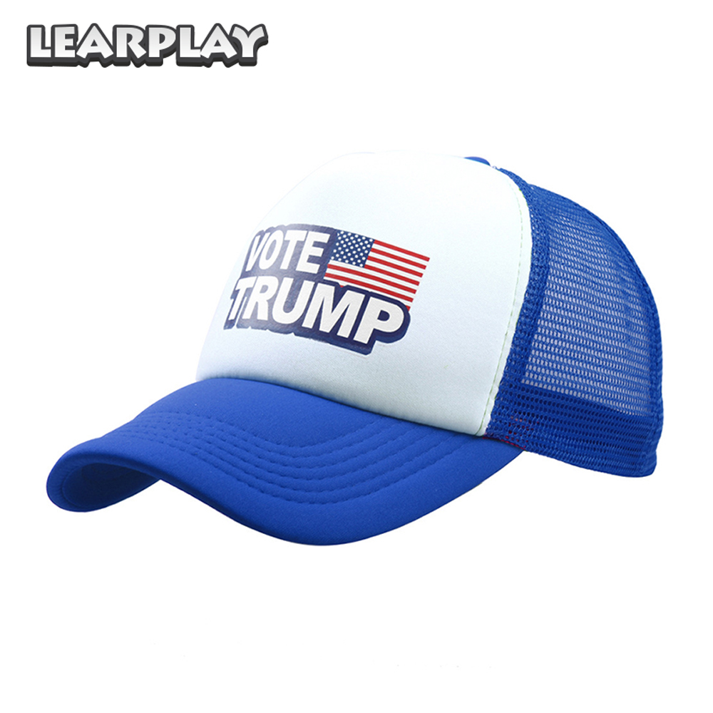 Donald Trump Mesh Baseball Caps Vote Trump Logo American Flag Hats Unisex Adults Adjustable Snapback Sport Trucker Hat 6 Colos
