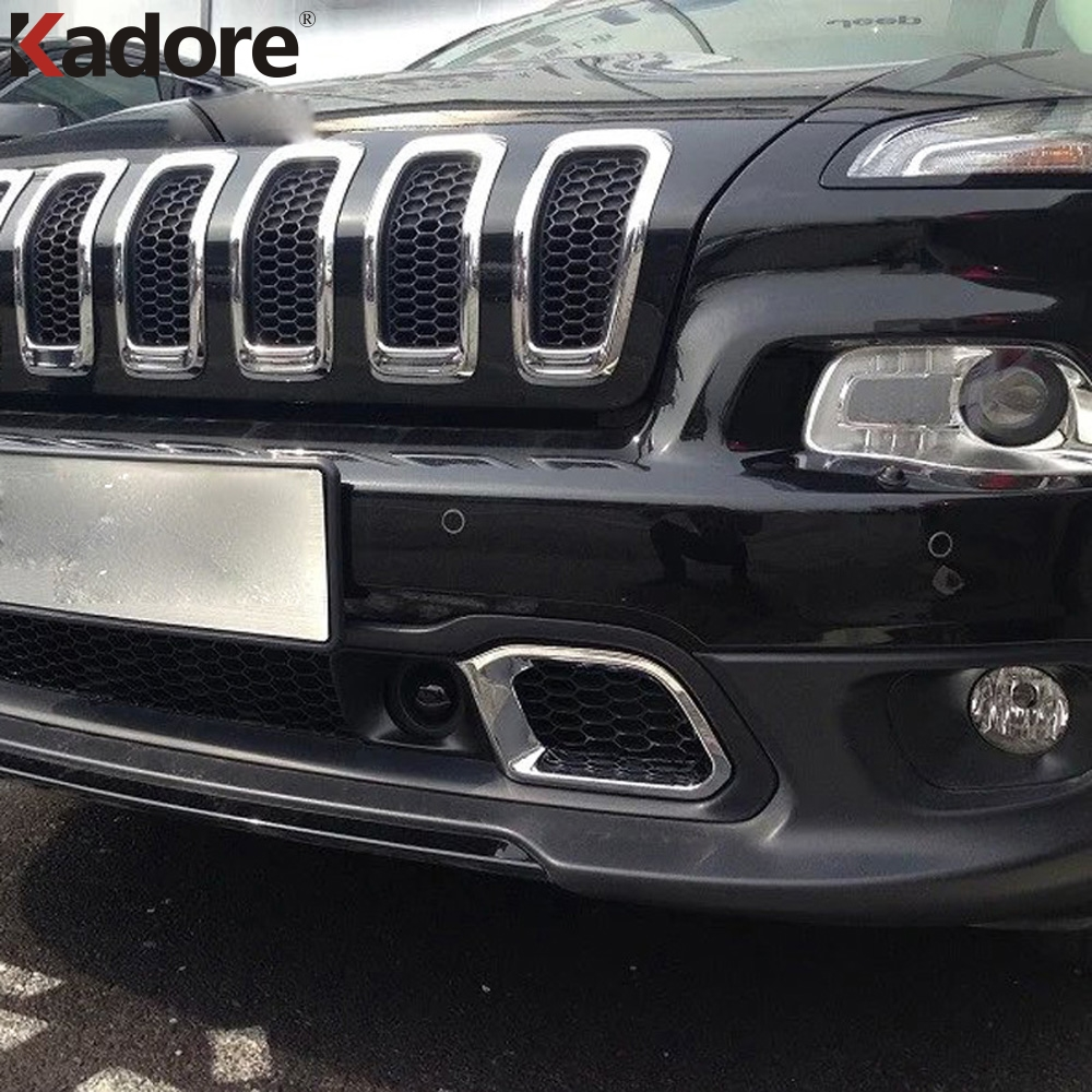 For Jeep Cherokee 2014 2016 ABS Chrome Front Bottom Bumper Grille Intake Radiator Vent Cover Trim External Car Accessories