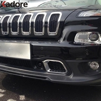 ABS Chrome Front Bottom Bumper Grille Intake Radiator Vent Cover Trim External Accessories For Jeep Cherokee