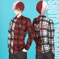 [S]Anime MY HERO ACADEMIA Todoroki Shoto men's Shirt Cotton Plaid Shirt Cosplay NEW 2018 free shipping