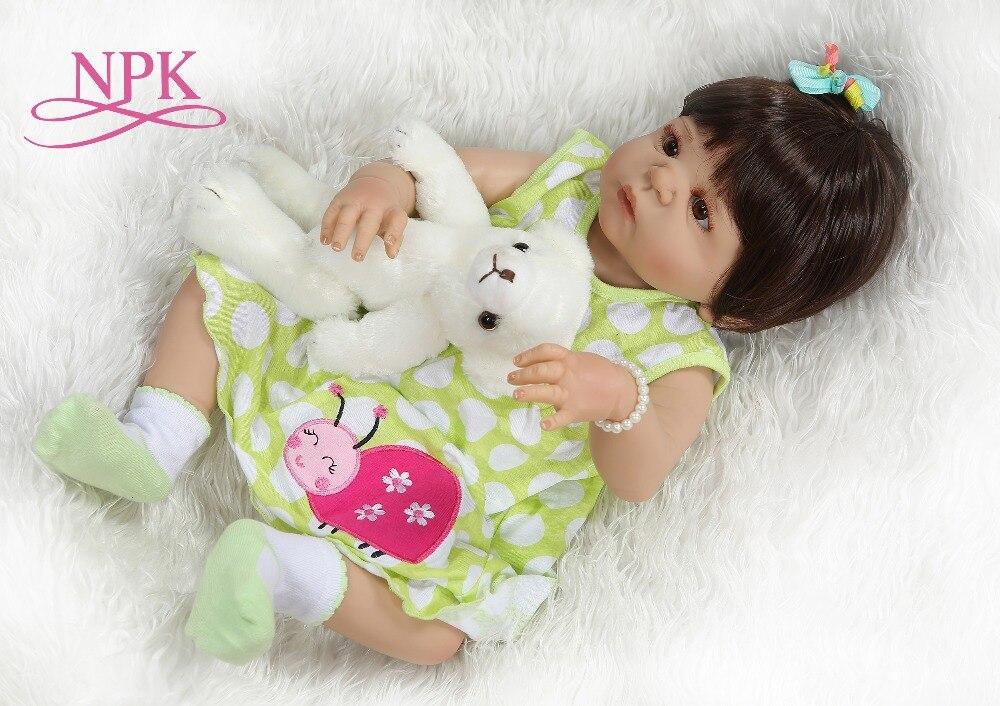 NPK 56CM full body silicone reborn baby doll victoria girl in tan skin sweet bebe doll