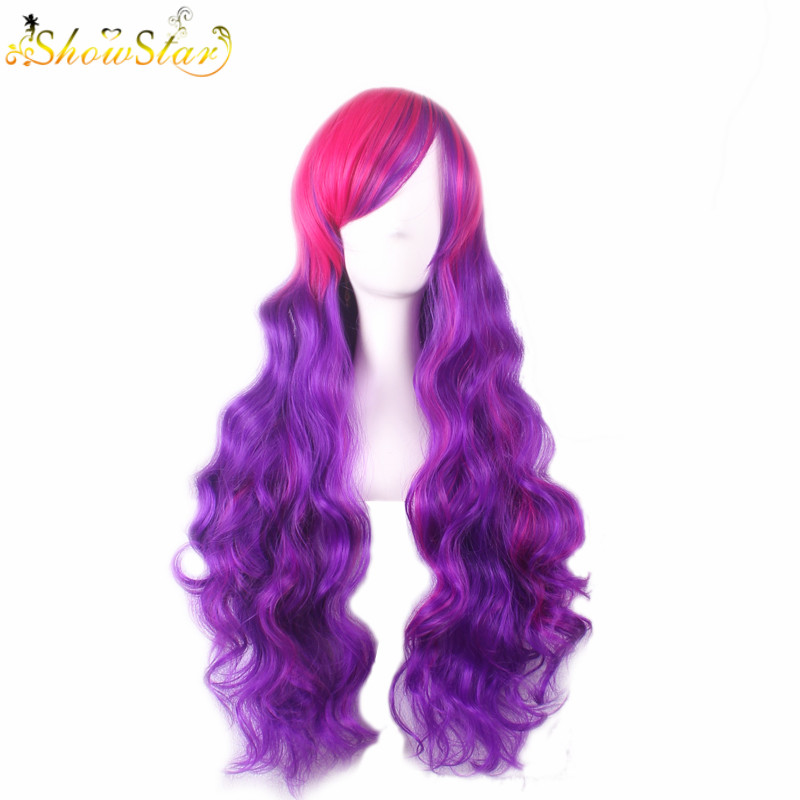 SHOWSTAR Lovely Lolita Rose Pink Purple Gradient Wig Long Wavy with Bangs Halloween Cosplay Party Wig Synthetic Women Ombre Wig k19 16inch wavy purple gradient light