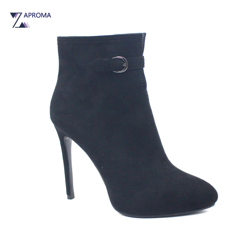 Buckle Sexy Thin Heel Suede Ankle Boots Women Autumn Winter Super High Heel Fleeces Female Pointed Toe Black Clear Shoes women faux suede side zipper sexy thin high heel thigh boots fashion pointed toe winter shoes black g