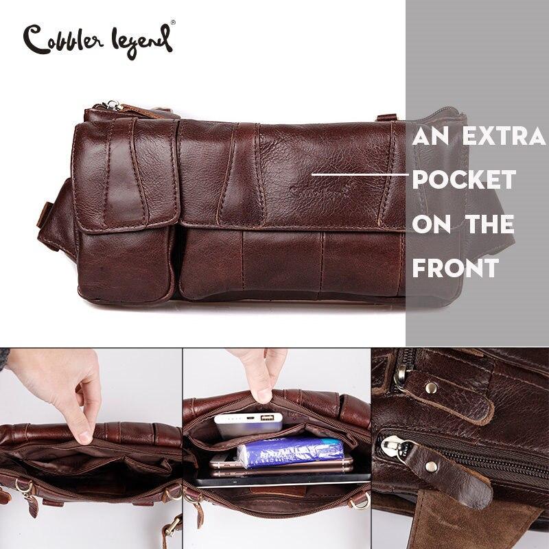 Cobbler Legend Brand Designer Men Waist Bag Genuine Leather Belt Bag Solid Coffee Phone Pouch Quality Fanny Pack Waist Pack
