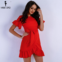 Missord 2017 Women Sexy O Neck Short Sleeve Dresses Female Solid Color Elegant Mini Bodycon Party