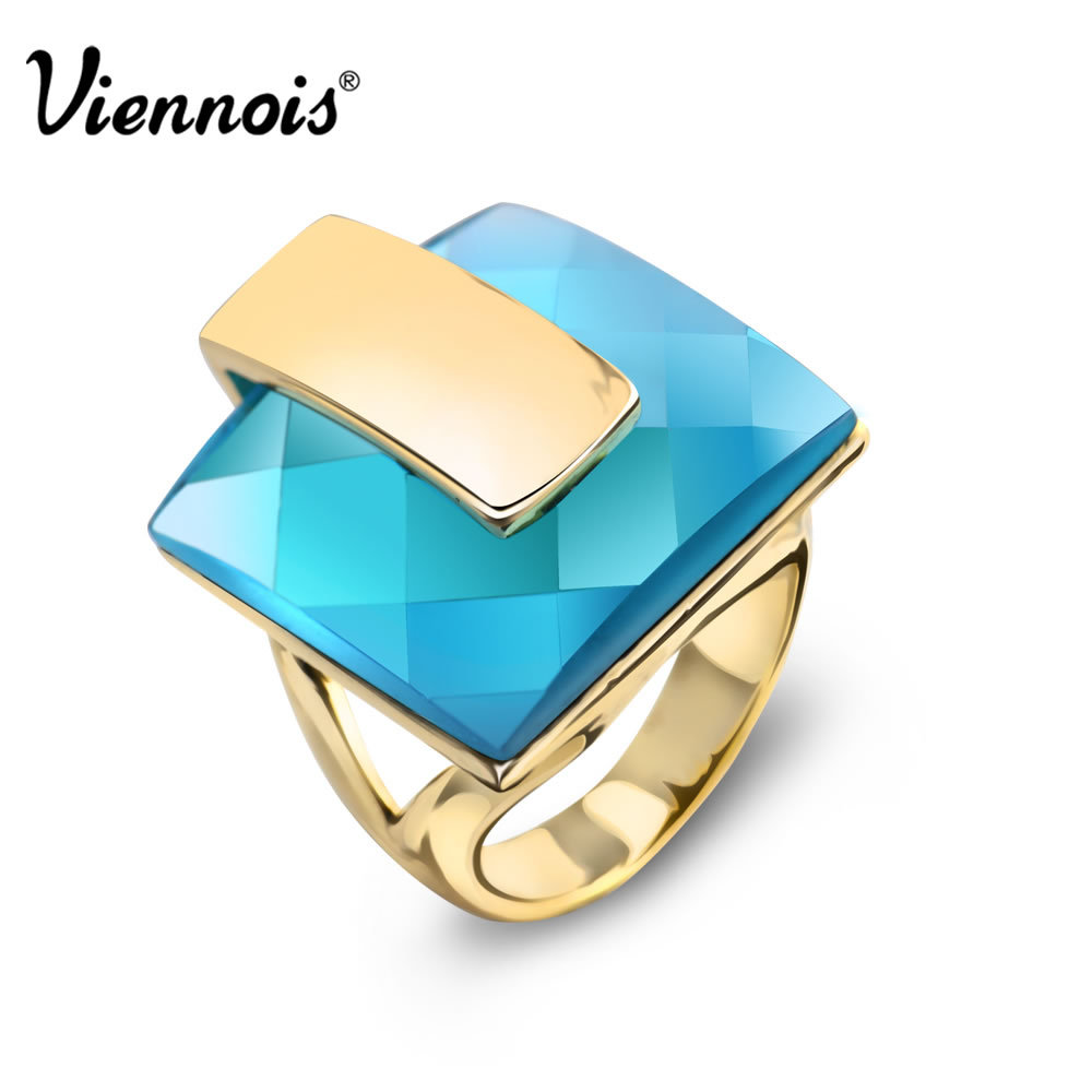 все цены на Viennois Brand Gold Color Blue Crystal Rings For women Square Ring Size 6# 7# 8# New Fashion Jewelry