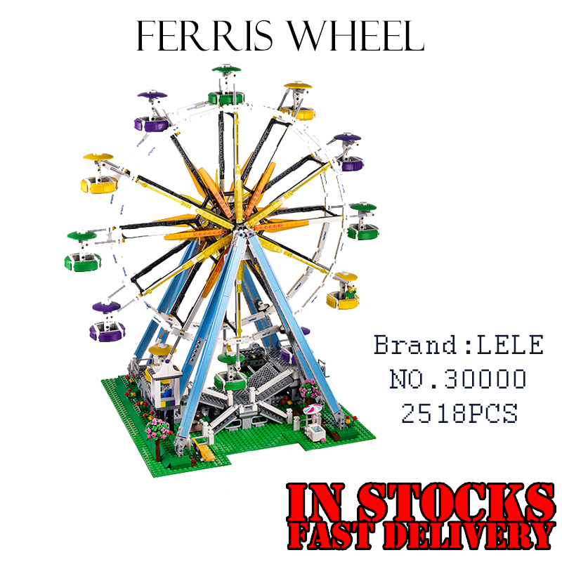 LELE 30000 2518Pcs City Expert Ferris Wheel Model Building Kits Blocks Bricks Toy For Children FiguresGifts Compatible 10247 lacywear s52715 2518 2542