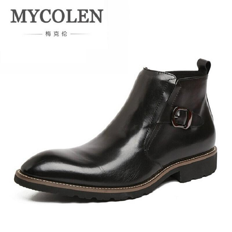 цена MYCOLEN Men Boots Winter 2017 Warm Snow Business Black Boots Men Shoes Footwear Male Rubber Winter Working Combat Ankle Boots
