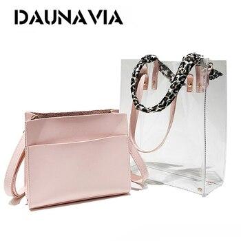 DAUNAVIA Brand Transparent Candy Summer Composite Bags Luxury Handbag Women Bag Designer New Arrival Shoulder Bags Beach Bags алиэкспресс сумка прозрачная