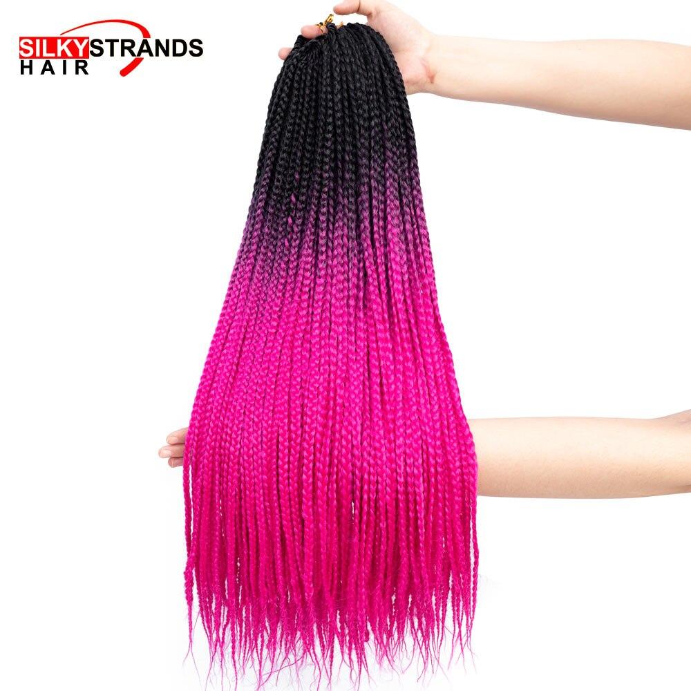 Ombre Box Braids Crochet Braids Hair Extensions 24inch Ombre Synthetic Pre-Braided Braiding Hair Long Crochet Hair Silky Strands