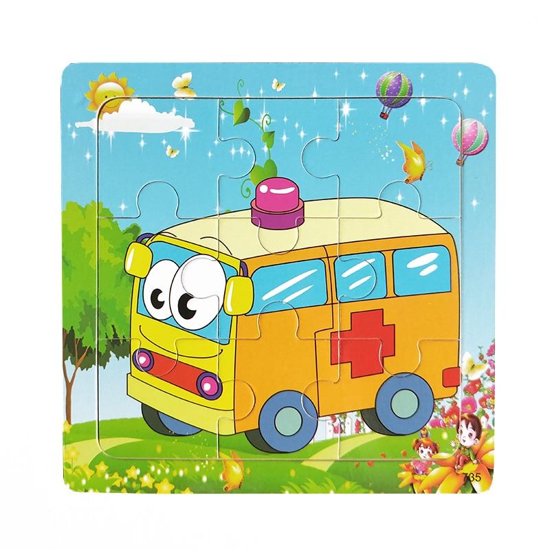 Деревянные пазлы для обучения детей и развивающие игрушки скорая помощь и поезд и пожарной машины