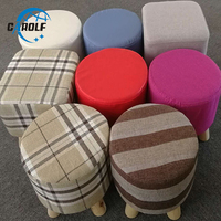 More colors Cotton stool Cover home round Footstool Soft fabric Ottomans Pouffe Stool