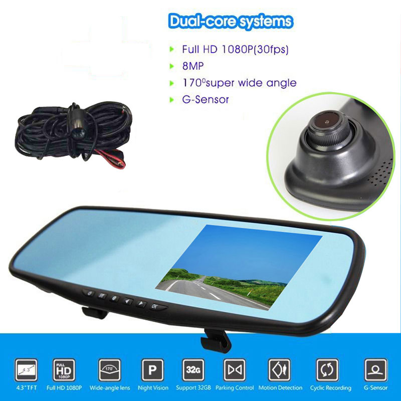 Dual Lens Car DVR Dash Camera Recorder 1080P LCD Screen In-Car Rearview Mirror 4.3 Monitor 170 Degree Wide View High Quality hot sale dvr car covers 7 car lcd tv dvd screen ccd 170 degree ear view night vision park monitor camera kits diagnostic tool