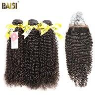 Байси 100% Необработанные Малайзии Девы вьющиеся волосы 3 Связки с Синтетическое закрытие волос Бесплатная доставка.