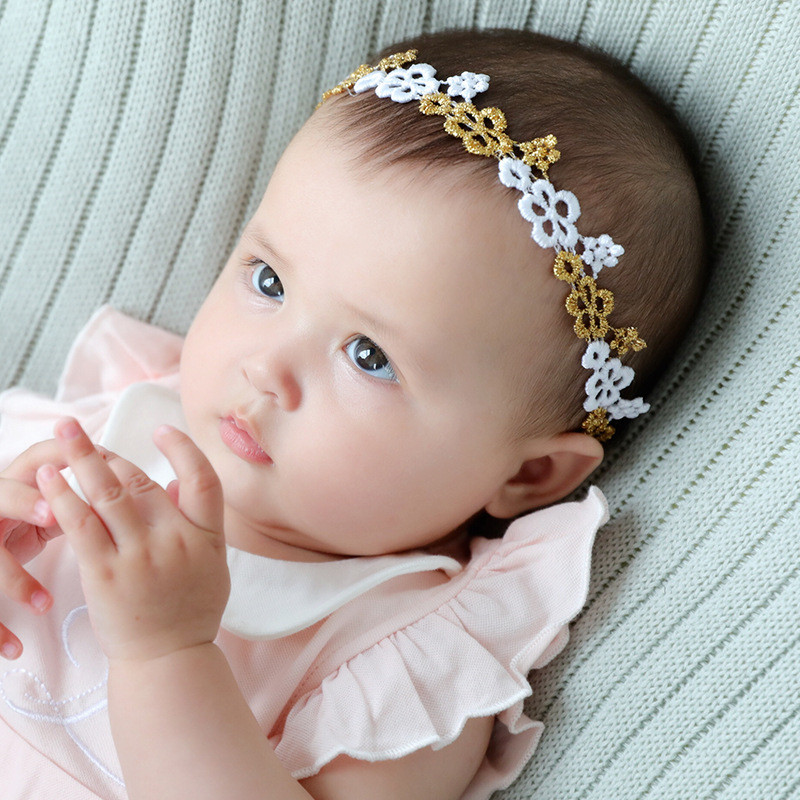1pc Cute Lace Flower Decoration Headband for Baby Girls Hair Decor Accessory Elastic Toddler Hair