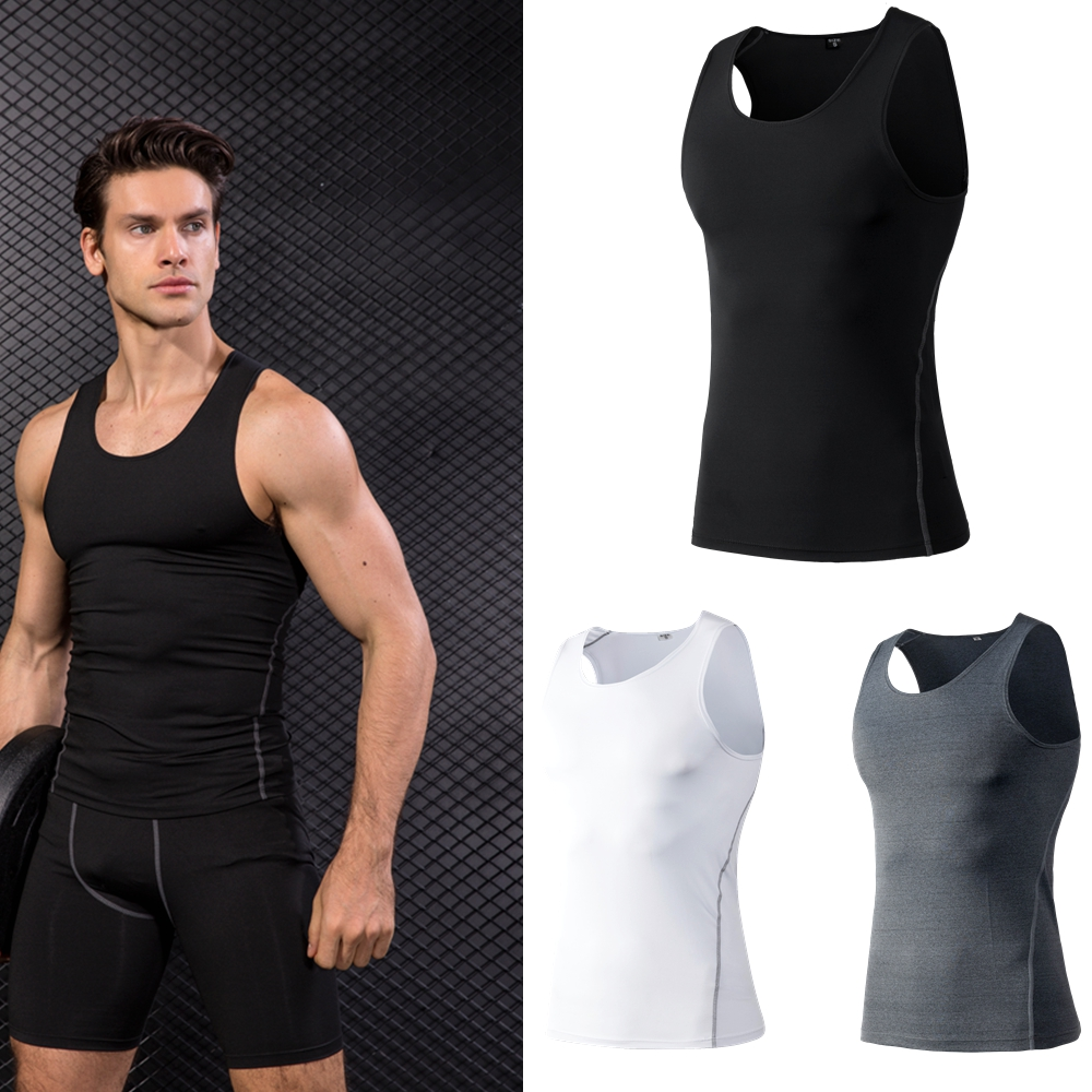 Men Compression Fitness Tights   Tank     Top   Quickly Dry Sleeveless High elasticity Gym Clothing Summer Men's Running Sport Vest