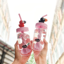 1PC 400ML Flamingos Straw Water Bottles Cute Plastic Sports Bottle For Outdoor Camping Drinking D