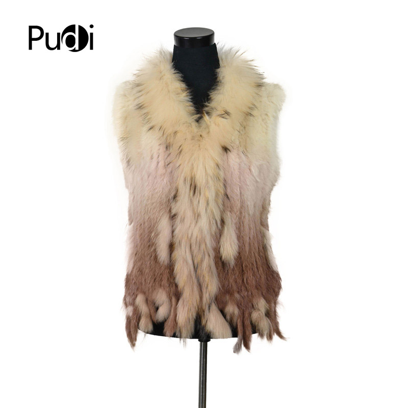 VR001 17 Free shipping womens natural real rabbit fur vest with raccoon fur collar waistcoat jackets